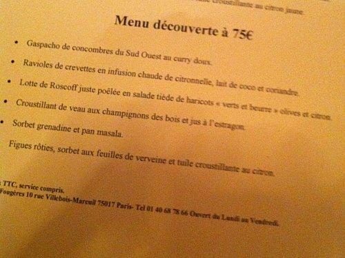 Fougères menu